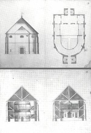 Cockpit Theatre - These plans, originally thought to be drawn by Inigo Jones , but now attributed to his protege John Webb, may be for the Cockpit Theatre. The drawings were originally believed to be the Blackfriars theatre.