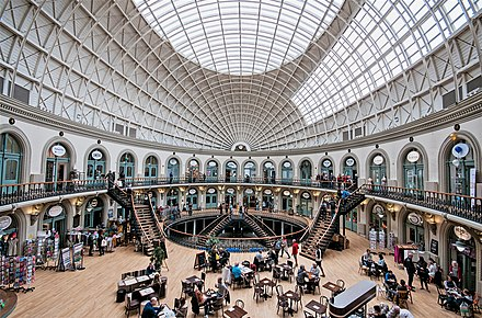 The Leeds Corn Exchange opened in 1864 Inside the Corn Exchange 2 - Leeds.jpg