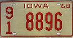 Iowa 1968 license plate - Number 91 8896.jpg