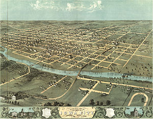 A bird's-eye illustration of Iowa City, circa ...