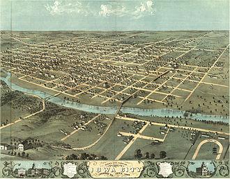 Iowa City, Iowa - A bird's-eye view map of Iowa City circa 1868