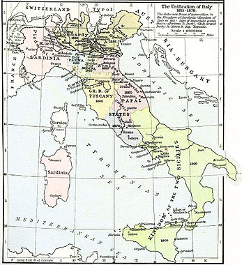 English: Map of unification of Italy, 1815-70