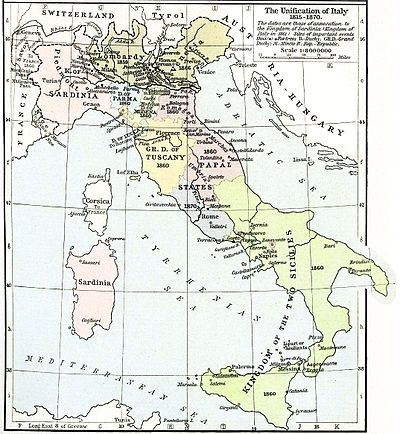 Italian unification process between 1815 and 1870 Italy unification 1815 1870.jpg