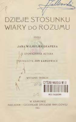 Dzieje Stosunku Wiary Do Rozumucałość Wikiźródła Wolna Biblioteka