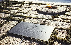 Eternal flame and marker at the grave of John F. Kennedy, 35th president of the United States.