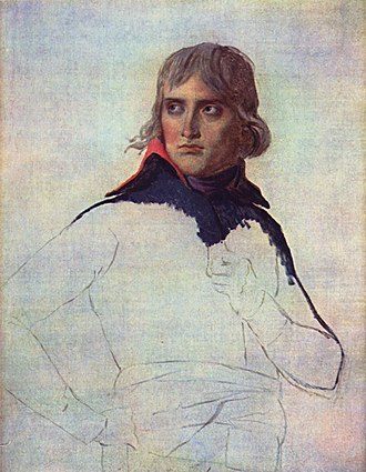 Napoleon Crossing the Alps - David's unfinished portrait of Napoleon from 1798