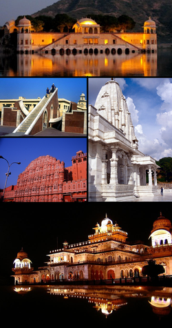 Clockwise from top: Jal Mahal, Lakshmi-Narayan Temple, Albert Hall Museum, Hawa Mahal, Jantar Mantar