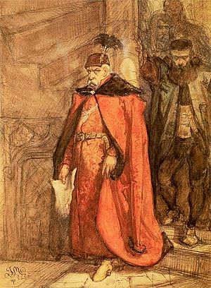 Jan Zamoyski - Zamoyski on his way to declare Zborowski's death sentence. Sketch by Jan Matejko