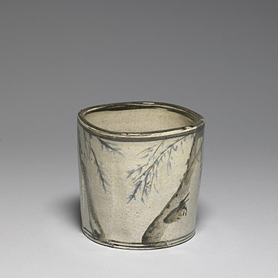Japanese - Incense or Charcoal Container with Signatures of Ogata Korin and Ogata Kenzan - Walters 492115 - Profile.jpg