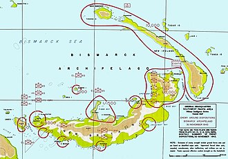 Battle of Cape Gloucester - Japanese dispositions on New Britain.