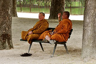 Bhikkhu - Two monks in orange robes