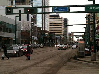 Jasper Avenue - Jasper Avenue west from 103 Street.