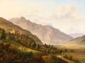Jens Peter Møller - Parti fra Alperne med et borgkompleks og en lille landsby - 1832.png
