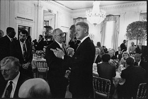 Jeremiah Wright - Jeremiah Wright (center left), in 1998, greeting President Bill Clinton during a prayer breakfast at the White House