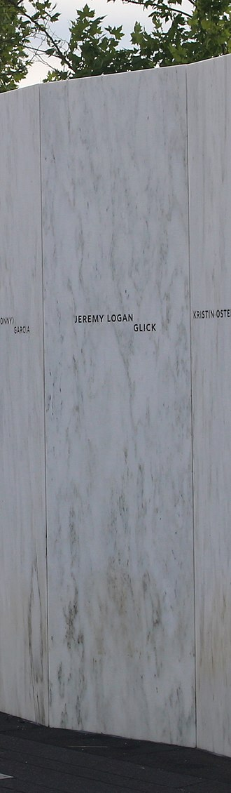 Jeremy Glick - Glick's name on the Wall of Names at Flight 93 National Memorial in Pennsylvania.