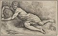John the Baptist, lying on the ground naked except for a cloth covering his thighs, with his right arm curled around a rock, a reed cross lies on a rock in the foreground MET DP833588.jpg