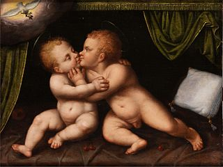 Jesus and Saint John as infants embracing