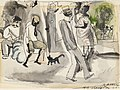 Jules Pascin - Figures and Cat in Park - BF629 - Barnes Foundation.jpg