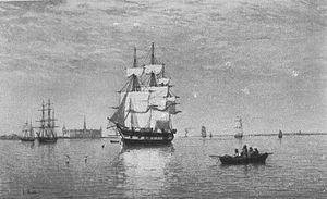 Julius Huth - Dänisches Vollschiff auf der Reede vor Helsingör.jpg