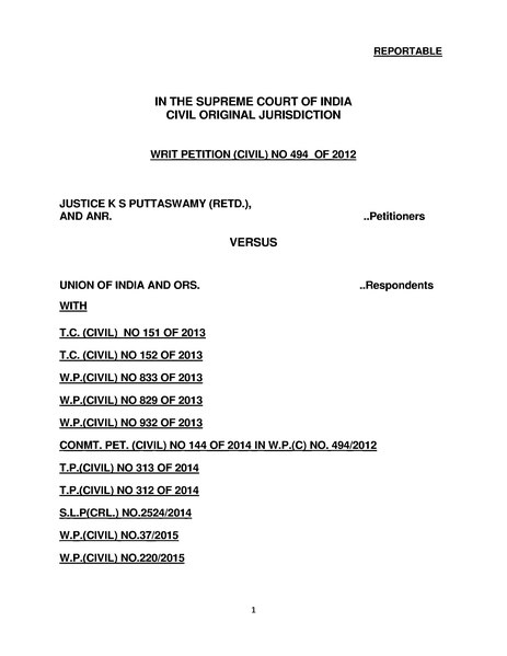File:Justice K. S. Puttaswamy (Retd.) and Anr. vs Union of India and Ors (Right to Privacy Judgement).djvu