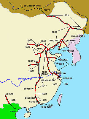 History of rail transport in China - Map showing early railway expansion in China.