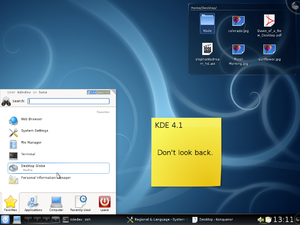 KDE Software Compilation 4 - KDE 4.1 showing Kickoff and Folder View.