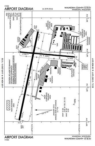 Waukesha County Airport - Image: KUES Airport Diagram