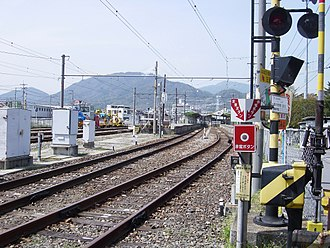 Kabe Station (Hiroshima) - Looking toward the station building on the grounds of Kabe Station in April 2005