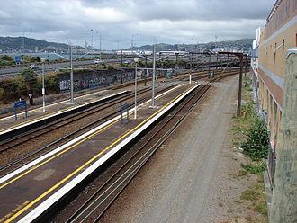 Kaiwharawhara railway station - Kaiwharawhara railway station, looking south in the direction of Wellington.