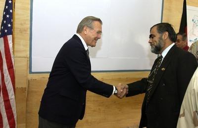 Kandahar Governor Yousef Pashtun with US Secretary of Defense Donald Rumsfeld, Kandahar Airbase - 2003