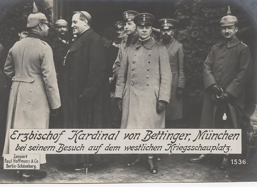 Catholic Archbishop Cardinal Bettinger visiting the German Western Front, 1916