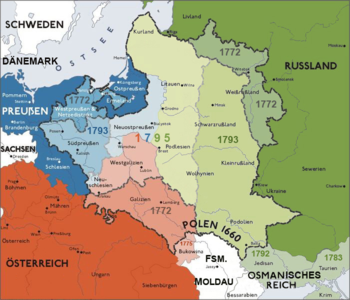 Poland-Lithuania in the borders of 1771 and the three partitions of Poland in 1772, 1793 and 1795