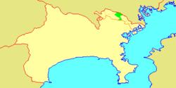 Vị trí của Takatsu trong tỉnh Kanagawa