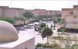 Khafji - Saudi city of Khafji before the Iraqi offensive, U.S. Marines and an armored vehicle shown on patrol