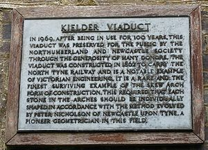 Peter Nicholson (architect) - Kielder Viaduct, information plaque