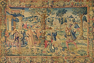 Astyages - King Astyages commands Harpagos to take the infant Cyrus and slay him, tapestry by Jan Moy (1535-1550).