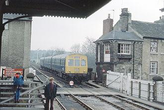 Knaresborough railway station - View SW with distinctive signal box