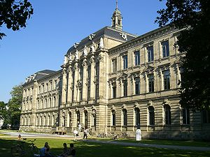 University of Erlangen-Nuremberg - The Kollegienhaus, the historical central building and lecture hall of the University at the borders of the Schlossgarten