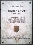Komlós Juci emléktáblája Városmajos utca 49.jpg