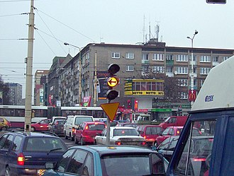 Road rage - A traffic jam in Poland