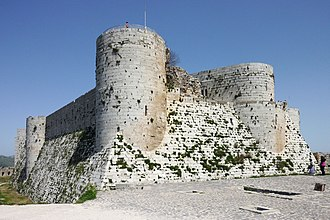 Glacis - Crac des Chevaliers: the south face of the inner ward with its steep glacis.