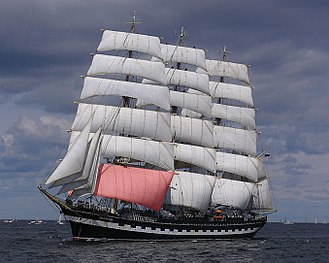 Foresail - The foresail (in pink) of a full rigged ship.