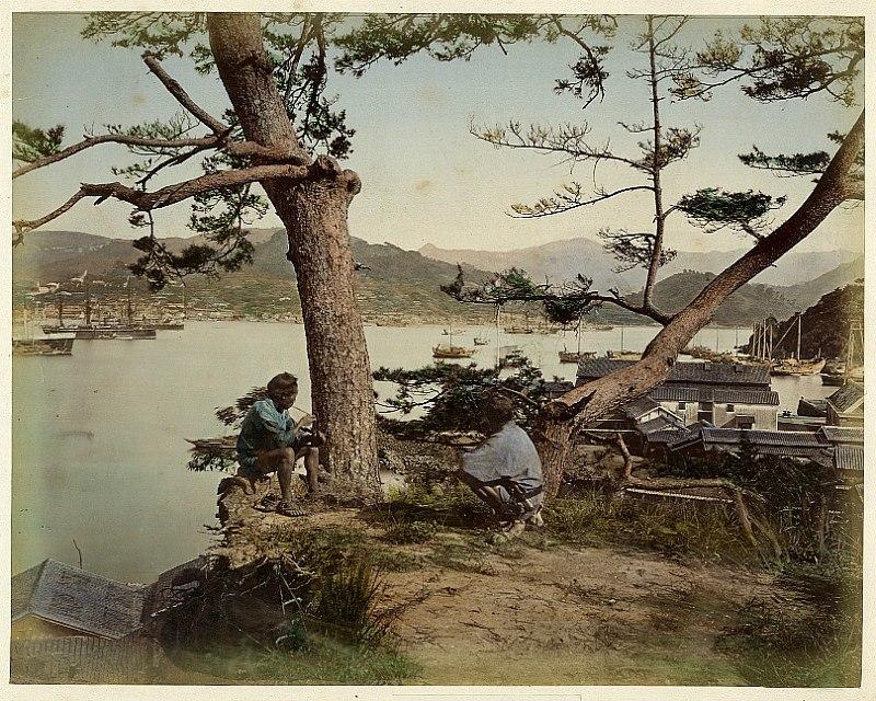 Kuichi Uchida View of Nagasaki Japan 1872 Hand-colored Vintage Albumen Print