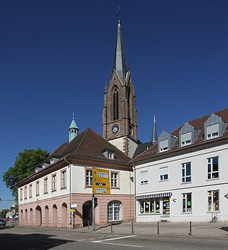 Kuppenheim - Old town hall in front of the church of St. Sebastian