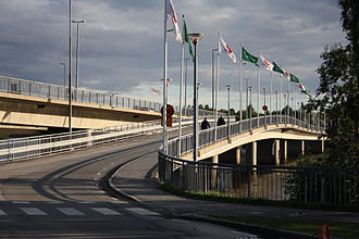 Kyrkbron, Umeå - North side's entrance ramp.
