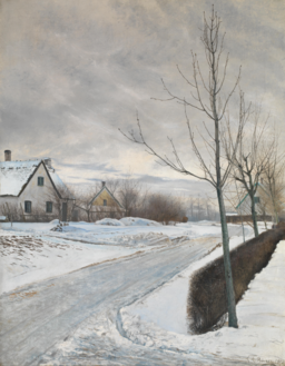 When To Stop Feeding Koi In The Winter - L.A. Ring, Road in the Village of Baldersbrønde (Winter Day), 1912, NG6658, National Gallery