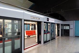 Santiago Metro - AS-2014 train on the line 6 side of Los Leones metro station.