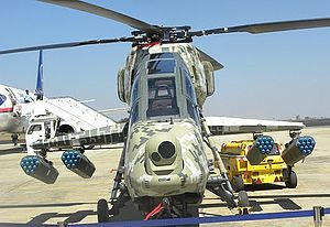 HAL Light Combat Helicopter - Head-on view of the LCH. Observe the underwing rocket pods carried upon its stub-wings