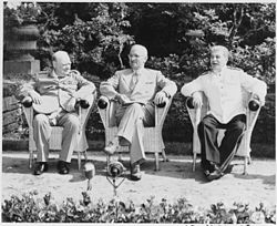 L to R, British Prime Minister Winston Churchill, President Harry S. Truman, and Soviet leader Josef Stalin in the... - NARA - 198958.jpg