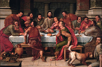 Willem Key - The last Supper, with self-portrait lower right, c. 1560.